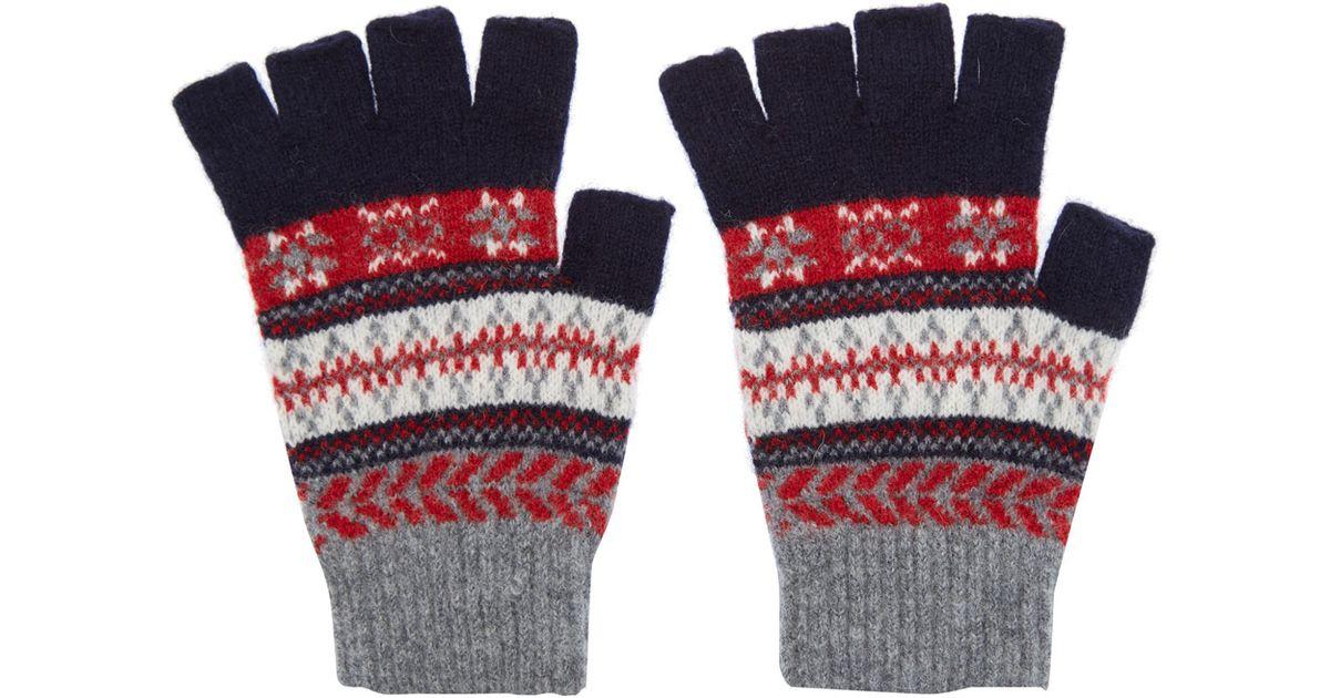 Barbour Fair Isle Wool Fingerless Gloves in Blue for Men | Lyst