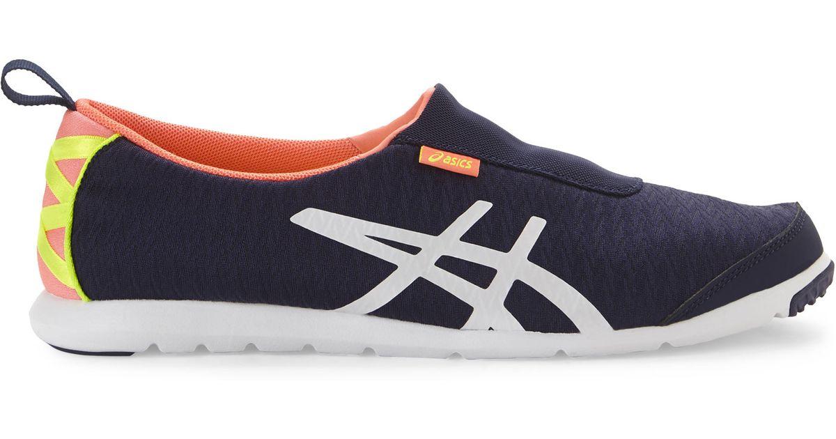 9ba284db0c32 Lyst - Asics Navy   Coral Metrolyte Slip On Sneakers in Blue