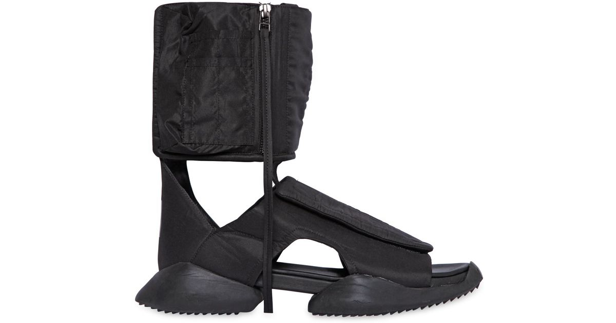 4f4a4b96bf3 Lyst - Rick Owens Padded Nylon Cargo High Top Sandals in Black for Men