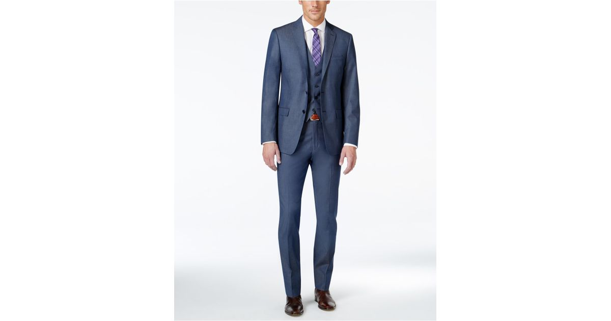 Calvin klein x fit blue twill extra slim fit vested suit for Calvin klein x fit dress shirt