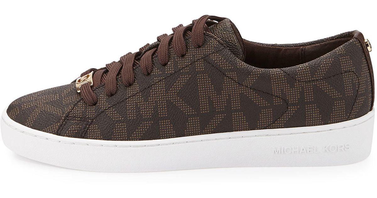 9af551ece5af MICHAEL Michael Kors Michael michael kors Keaton Logo Pvc Sneaker in Brown  for Me ...