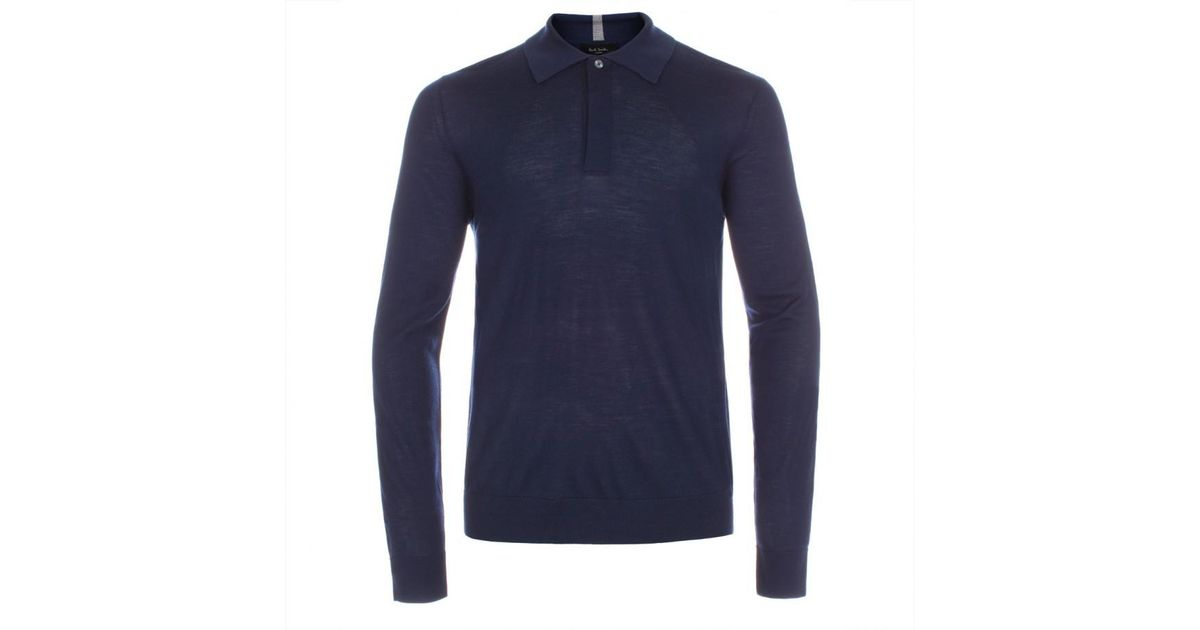 55adf423a Paul Smith Men's Navy Merino Wool Long-sleeve Polo Shirt in Black for Men -  Lyst
