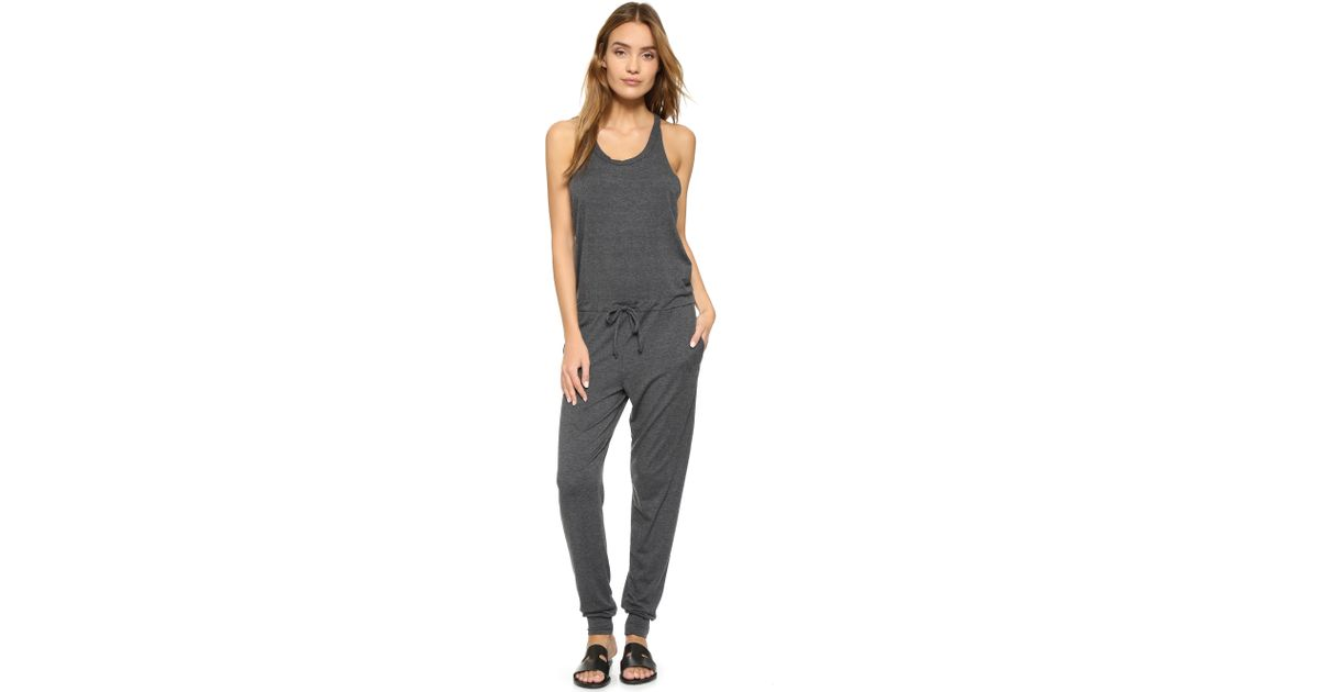 28b943e6eaf Lyst - Spiritual Gangster Solid Racer Back Jumpsuit in Black