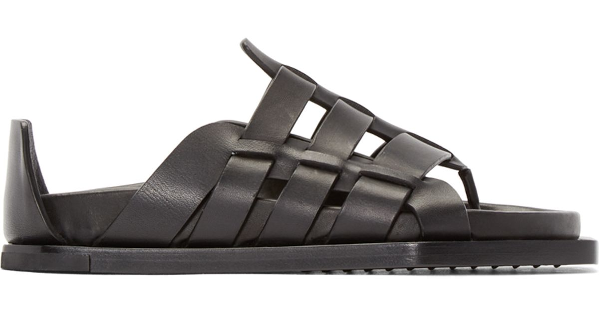 9625a3b27 Rick Owens Black Leather Gladiator Sandals in Black - Lyst