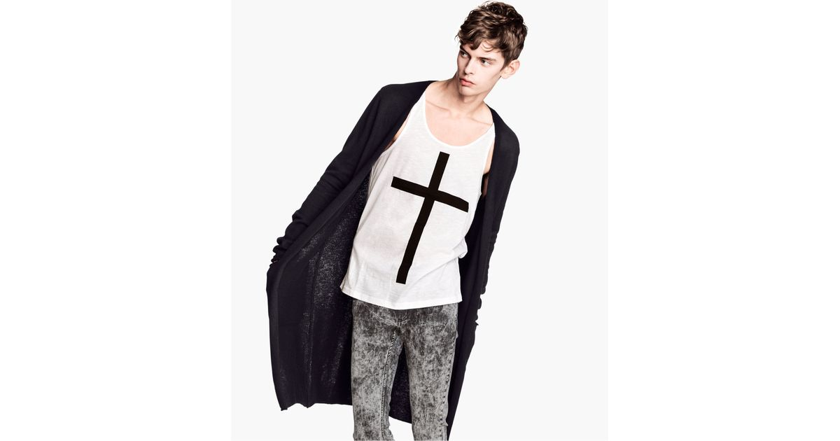 H&m Long Cardigan in Black for Men | Lyst