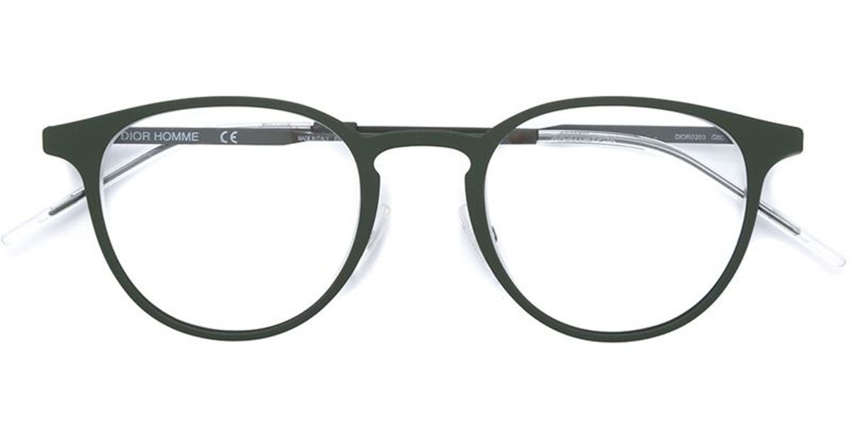 Dior Homme Round Frame Glasses in Green for Men - Lyst