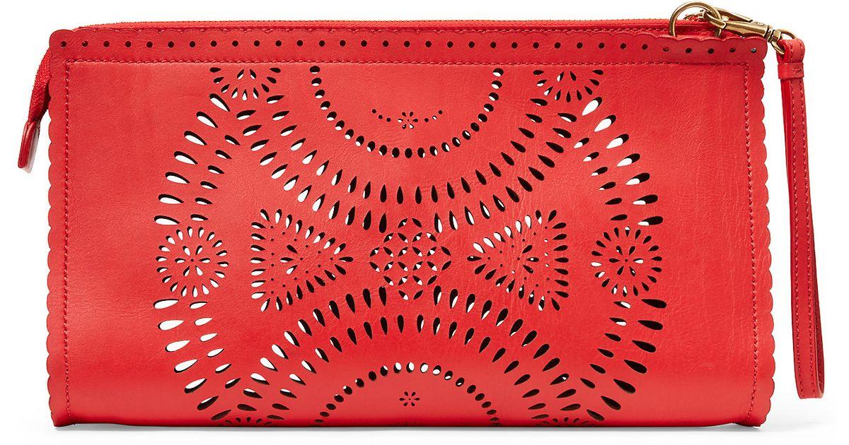 Lyst - Polo Ralph Lauren Laser-cut Leather Clutch in Pink 3885d0cdb5c23