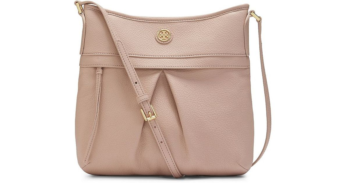 9f4bf08cd2df Lyst - Tory Burch Pebbled Leather Swingpack in Natural