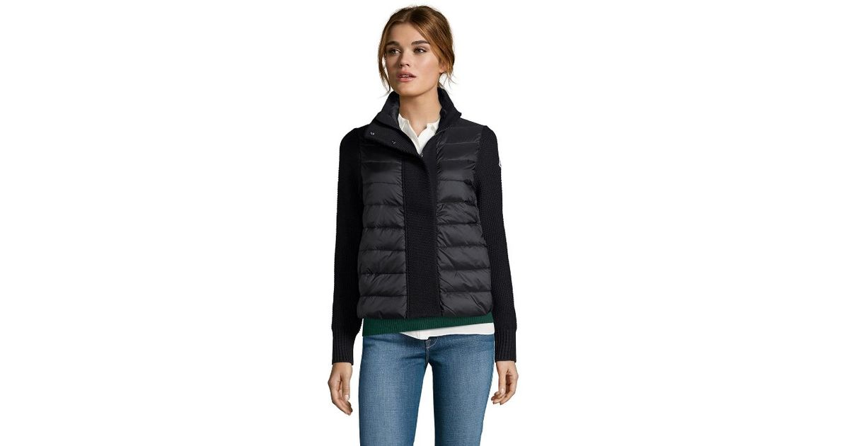 moncler black down knit jacket
