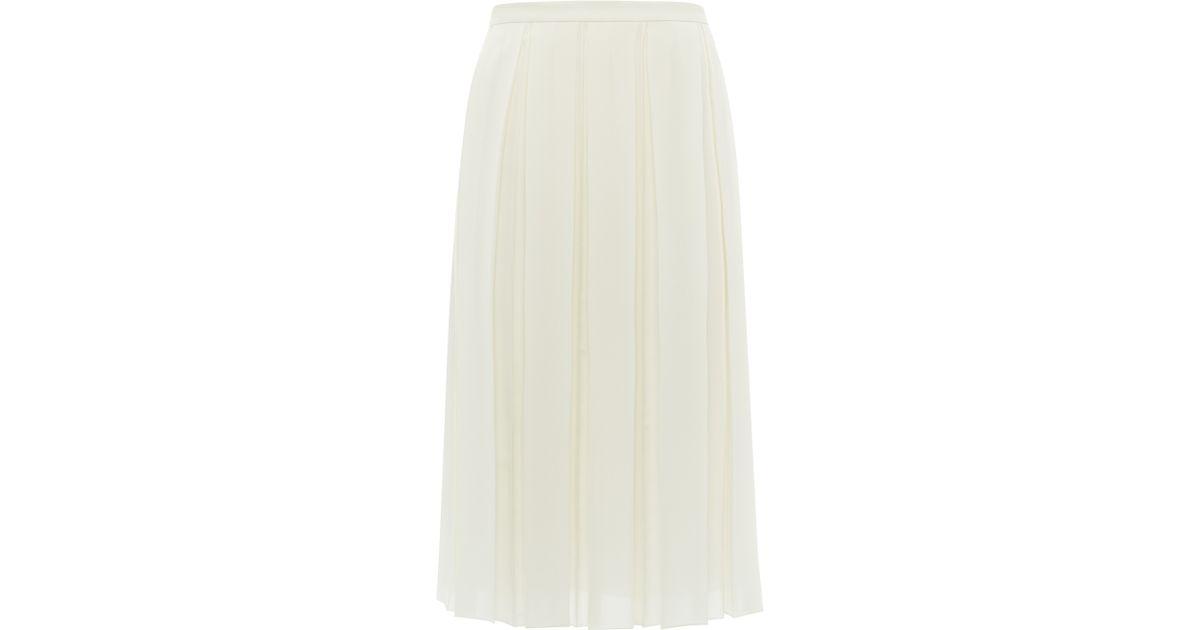 48fa8857f2 Jaeger Box Pleat Skirt in White - Lyst