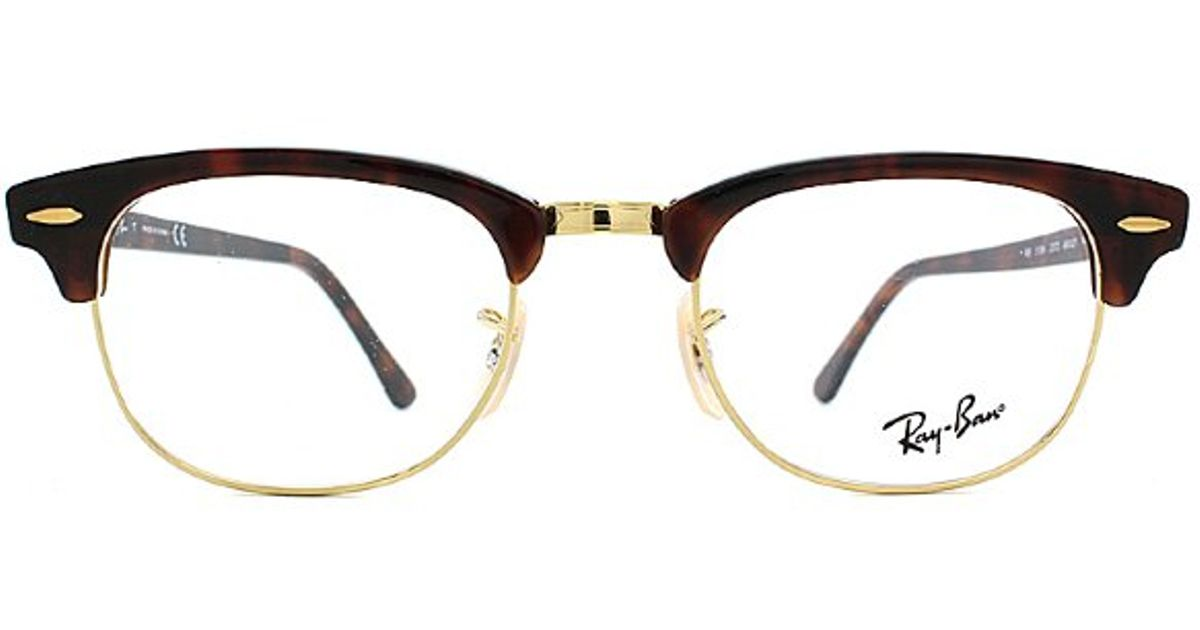 db8276b892f ... cheap lyst ray ban ray ban rx5154 clubmaster 2372 red tortoise gold  plastic eyeglasses in brown