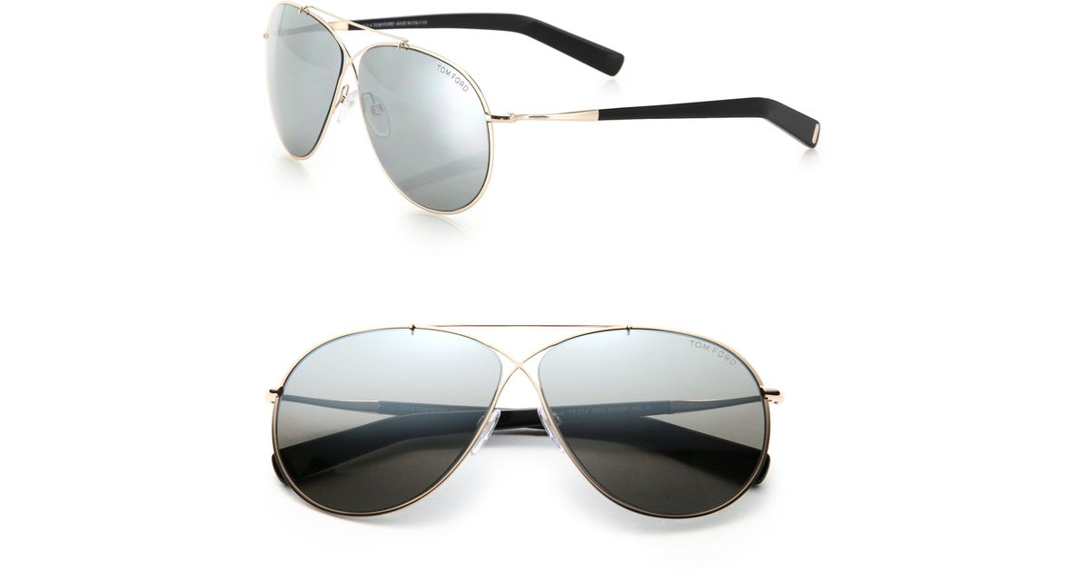 82b06bc35a782 Tom Ford Eva 61mm Pilot Sunglasses in Metallic - Lyst