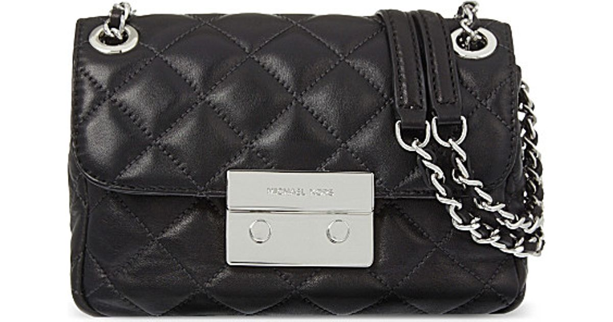 b1d8e6779712 MICHAEL Michael Kors Sloan Small Quilted Leather Shoulder Bag in Black -  Lyst