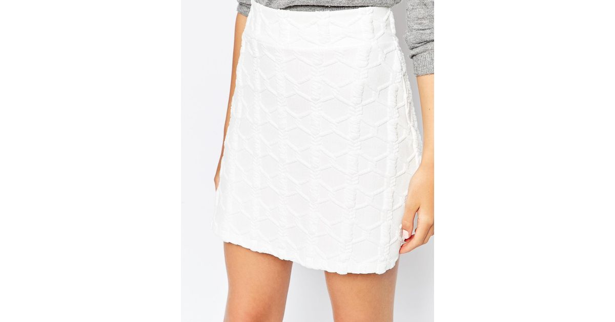 c3a457fa05 ASOS A-line Mini Skirt In Texture in White - Lyst