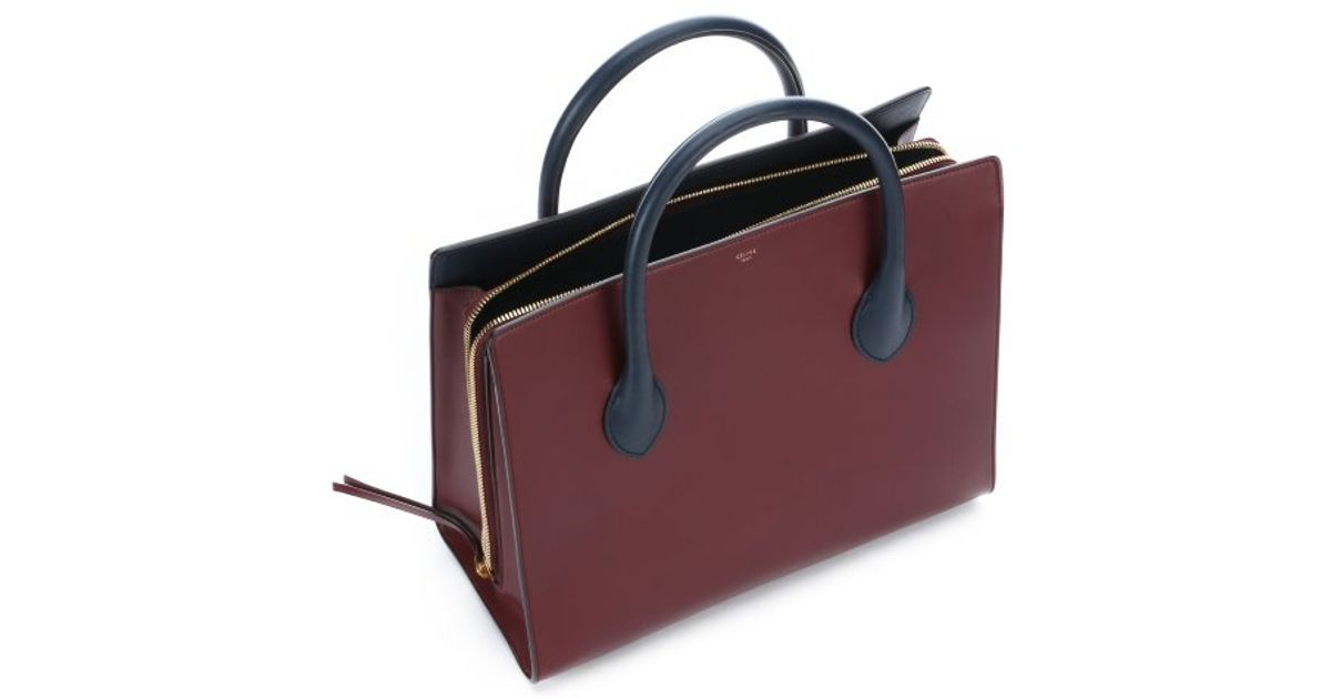 C��line Burgundy Leather Boxy Top Handle Tote Bag in Purple ...