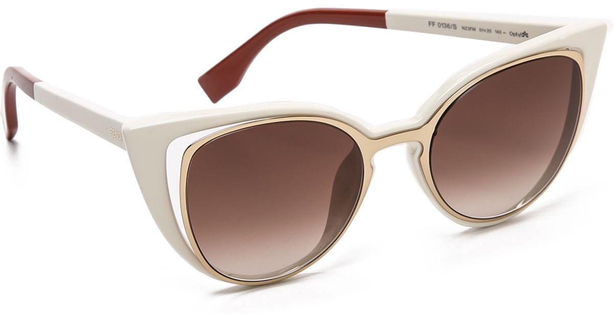 aec1d162862 Lyst - Fendi Cutout Cat Eye Sunglasses - Gold White brown Shade in Metallic