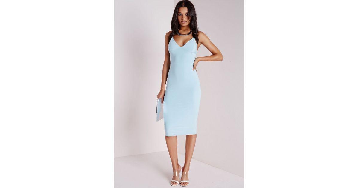 Lyst - Missguided Slinky Strappy Midi Dress Powder Blue in Blue 3734b2e8b