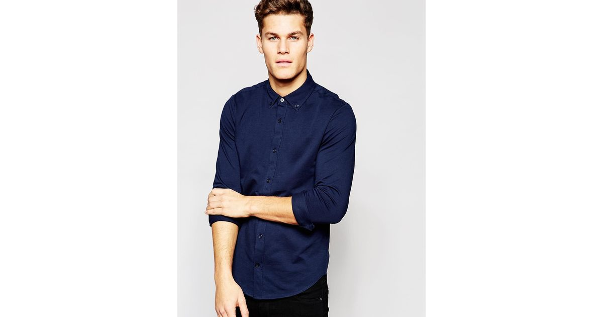 tommy hilfiger jersey shirt in navy in fitted slim fit in. Black Bedroom Furniture Sets. Home Design Ideas
