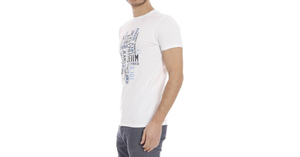armani jeans t shirt in white for men lyst. Black Bedroom Furniture Sets. Home Design Ideas