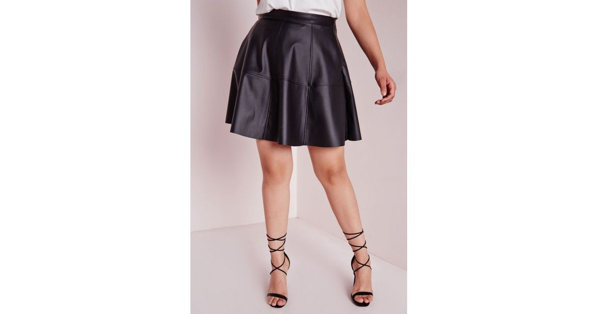 cd01f8482fb Missguided Plus Size Faux Leather Skater Skirt Black in Black - Lyst