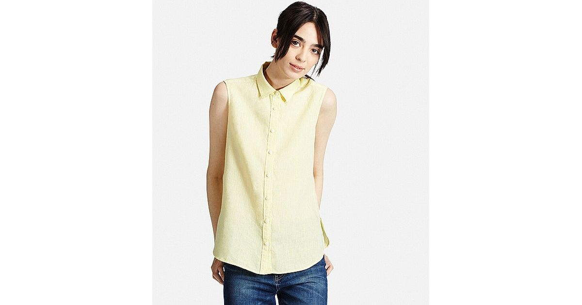 Uniqlo premium linen sleeveless shirt in yellow lyst for Uniqlo premium t shirt