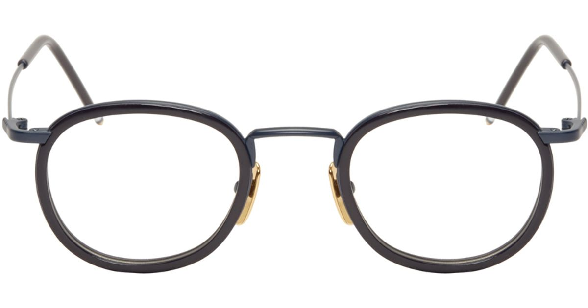 9375067b1cc Lyst - Thom Browne Navy And Gold Clip-on Glasses in Blue for Men