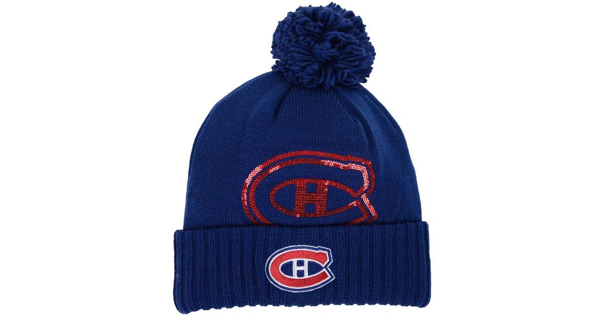 ef809d047776ec Lyst - Reebok Women's Montreal Canadiens Pom Knit Hat in Blue