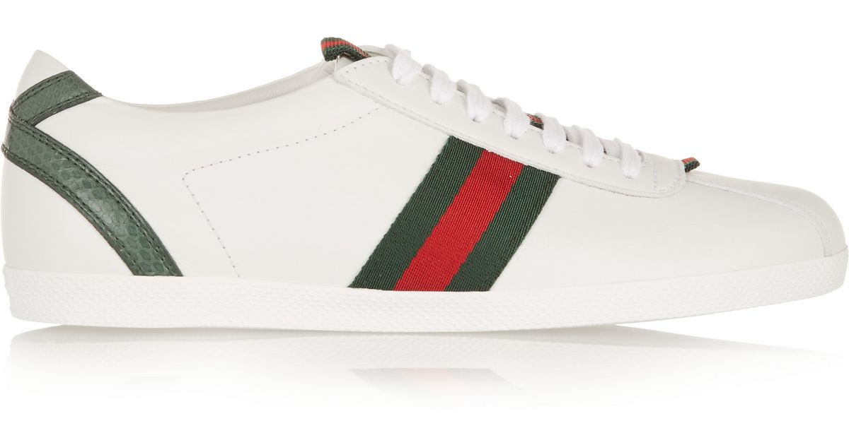 962a56c1a Gucci New Ace Watersnake-trimmed Leather Sneakers in White - Lyst