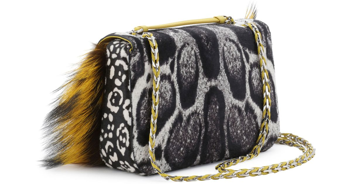 557071a560 Lyst - Fendi Be Baguette Fur Leopardprint Calf Hair Bag in Yellow
