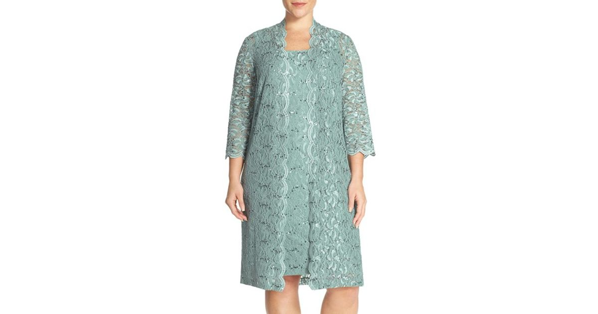 Lyst - Alex Evenings Embellished Duster Jacket and Sheath Dress in Green