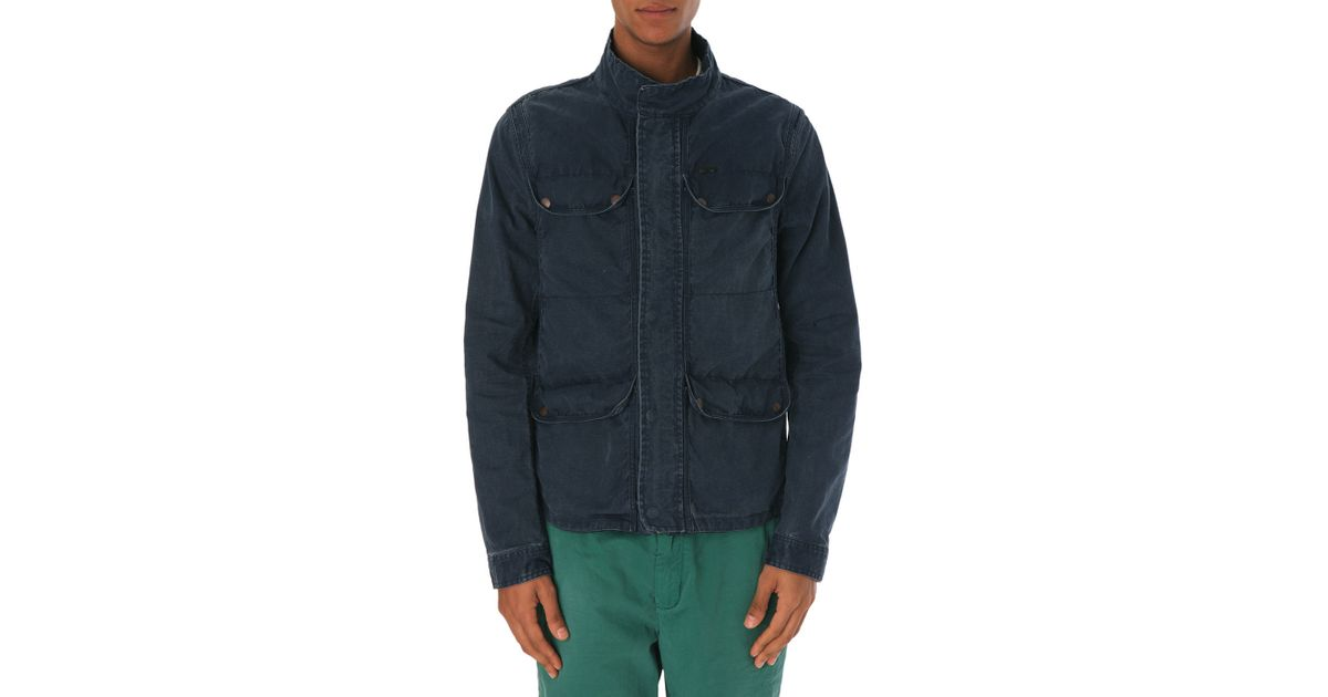 scotch soda multipocket navy parka in blue for men lyst. Black Bedroom Furniture Sets. Home Design Ideas