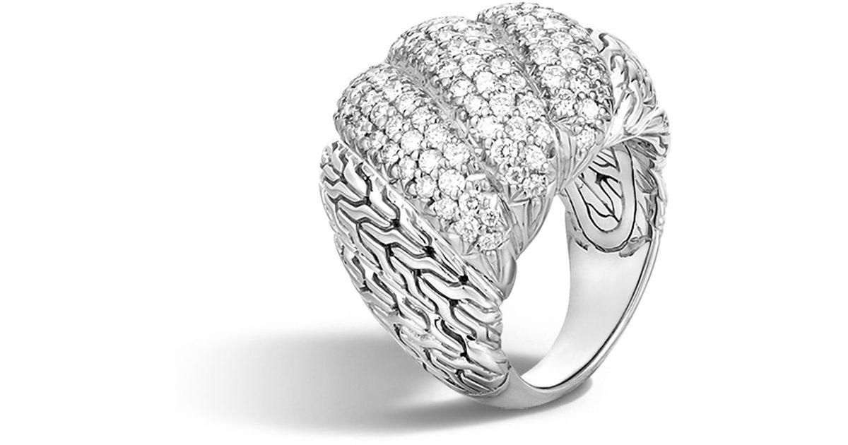 John Hardy Classic Chain Dome Ring With Diamonds ZM41DYX