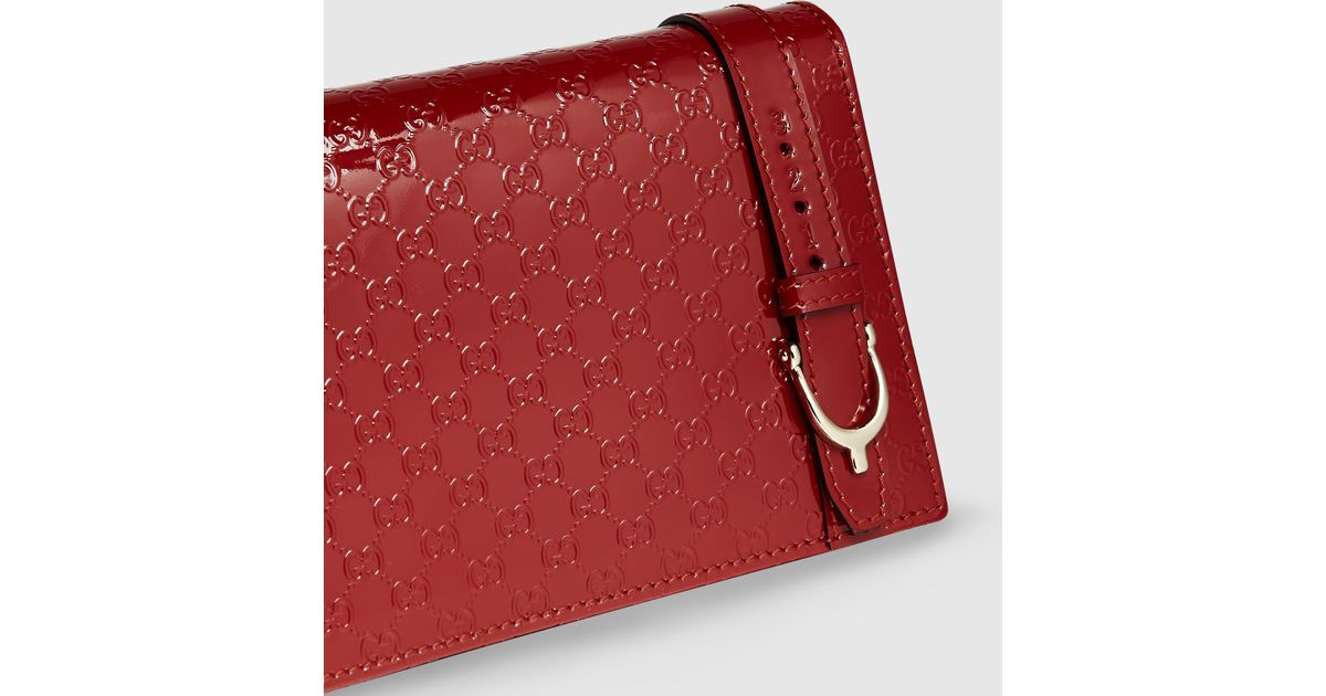 397bff82c9c Lyst - Gucci Nice Microssima Patent Leather Wallet With Strap in Red