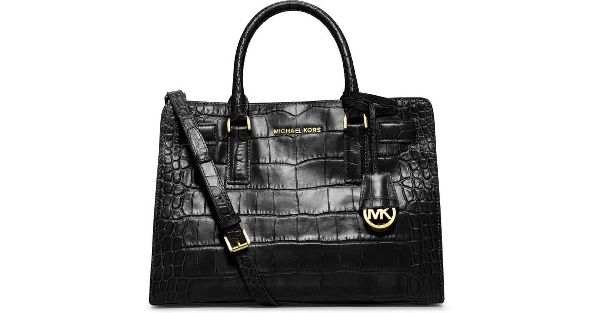 db5ecdfd38bb8d MICHAEL Michael Kors Dillon Croc-Embossed Satchel Bag in Black - Lyst