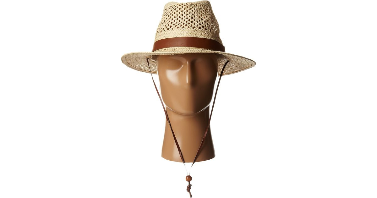 bc0333cc25a Lyst - San Diego Hat Company Pbf7002 Woven Paper Straw Panama Fedora W   Chin Cord in Natural