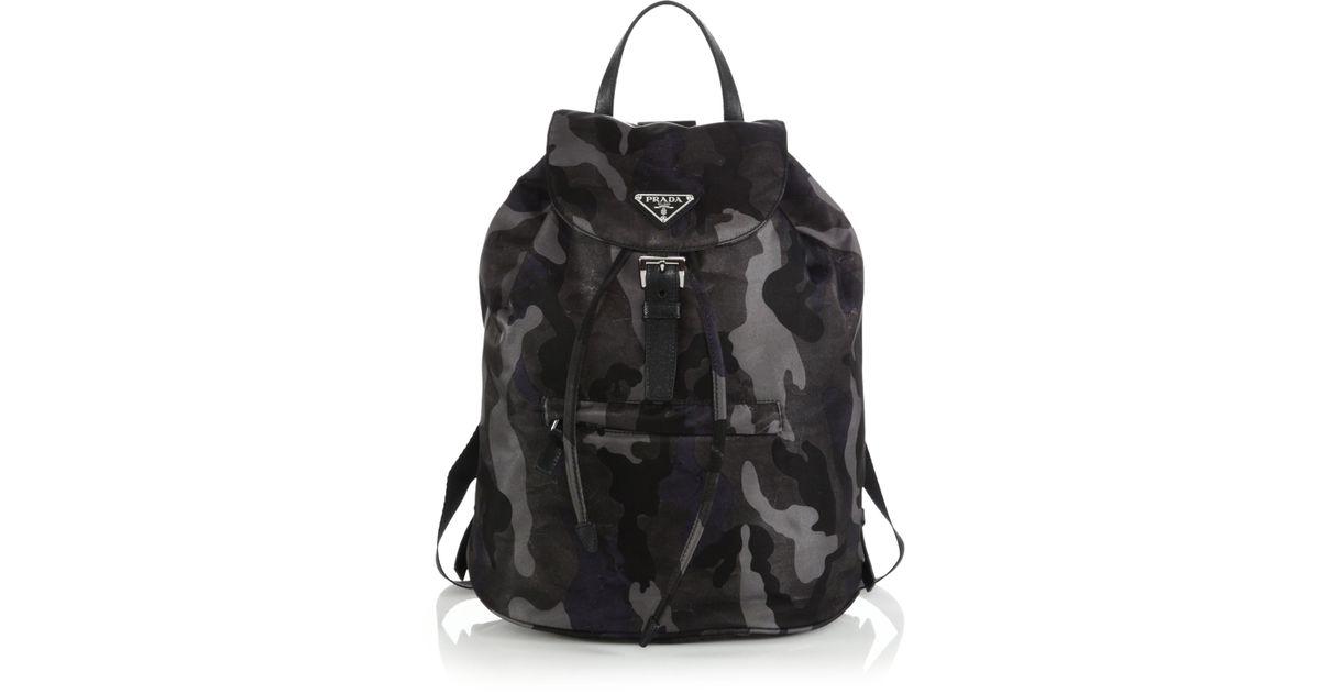 2144627f469d26 ... buy lyst prada tessuto camouflage backpack in black 29a80 6a5ed