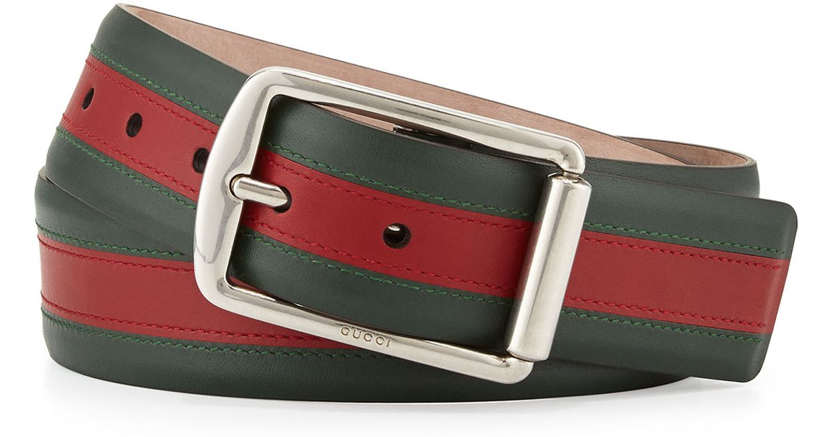 63f4b104d09 Gucci Signature Web Leather Belt in Green for Men - Lyst
