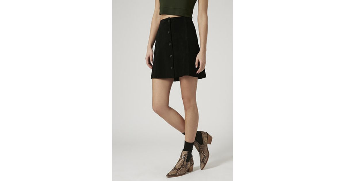 topshop suede button front a line skirt in black lyst
