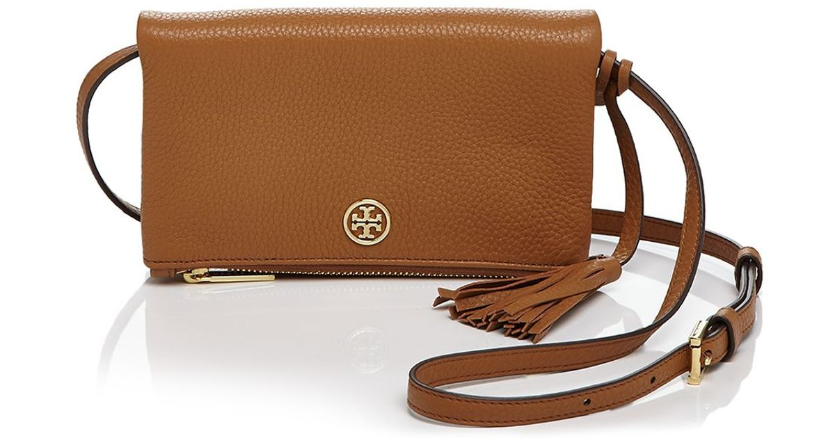 31067fb356d Lyst - Tory Burch Robinson Pebbled Mini Fold Over Crossbody in Brown