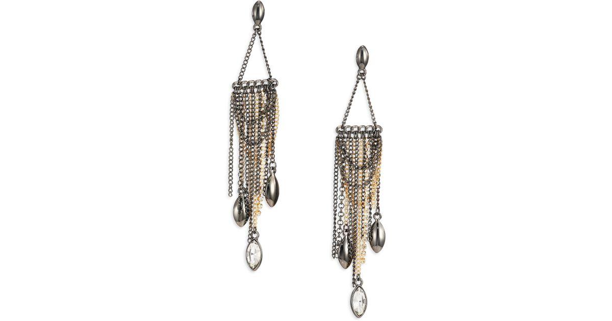 Lyst Abs By Allen Schwartz Bitter Not Sweet Dd Chain Fringe Chandelier Earrings In Metallic