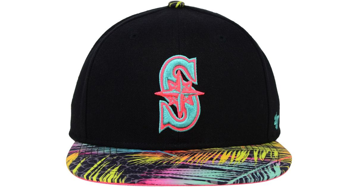 new style 8257a eac4b Lyst - 47 Brand Seattle Mariners Flagler Snapback Cap in Black for Men