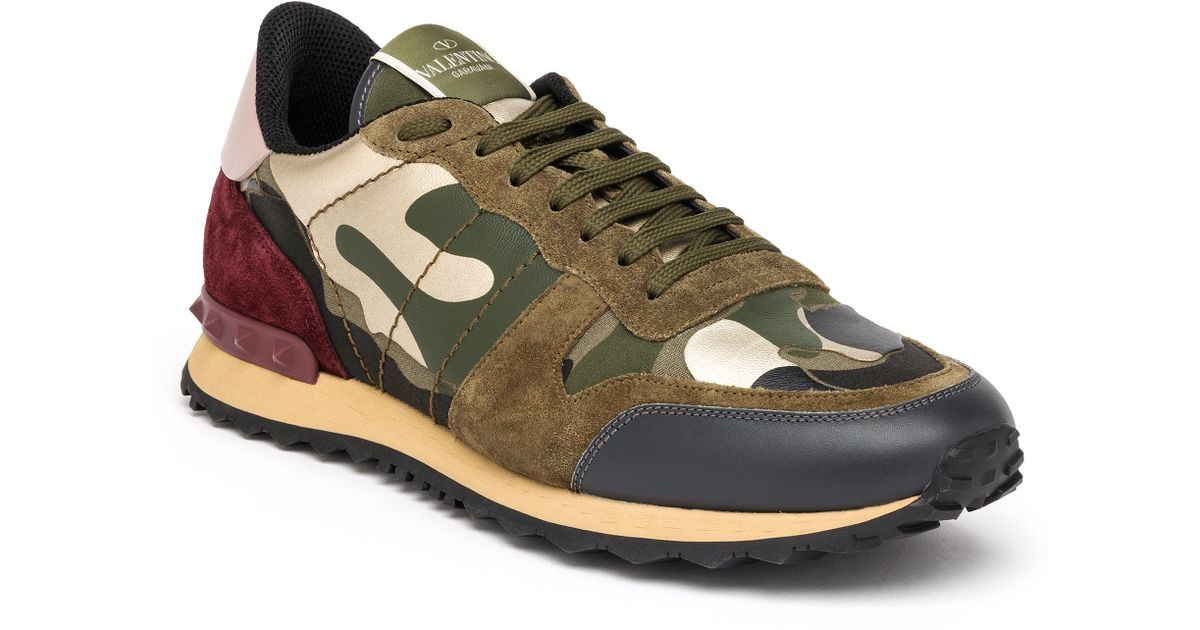 lyst valentino rockrunner camouflage sneakers in green for men. Black Bedroom Furniture Sets. Home Design Ideas