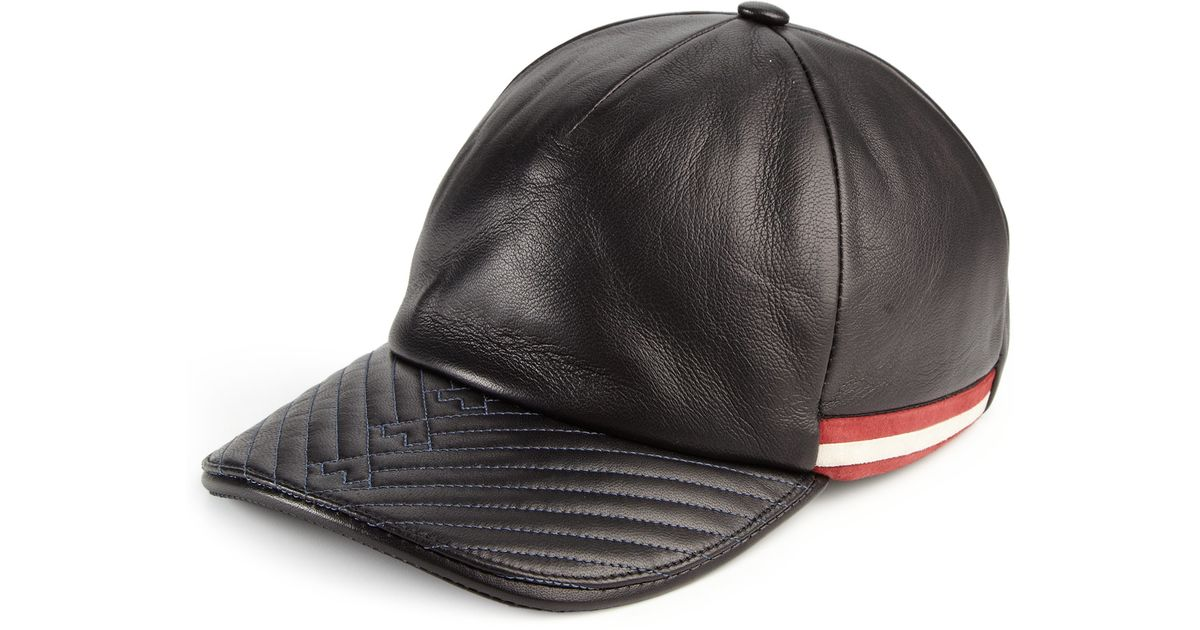 bc695357d17 Lyst - Bally Leather Baseball Cap in Black for Men