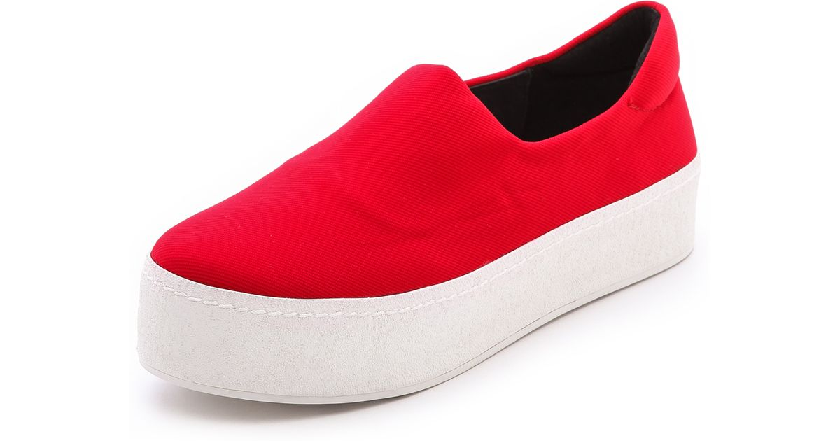 3dc3d0fbe Opening Ceremony Slip On Platform Sneakers - Black in Red - Lyst