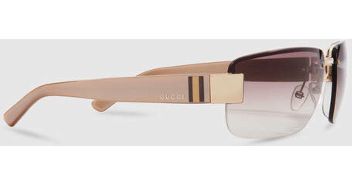 dce4277c526 Lyst - Gucci Medium Rimless Sunglasses in Black for Men