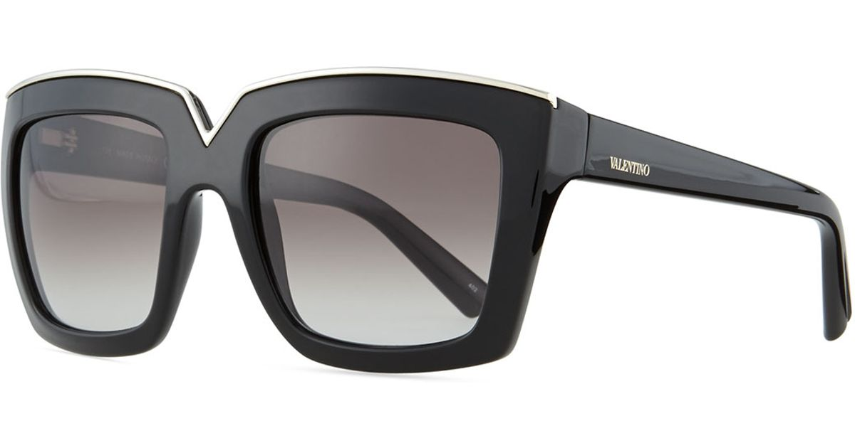 c7f264b1d1 Lyst - Valentino V-Notched Thick Square Sunglasses in Black