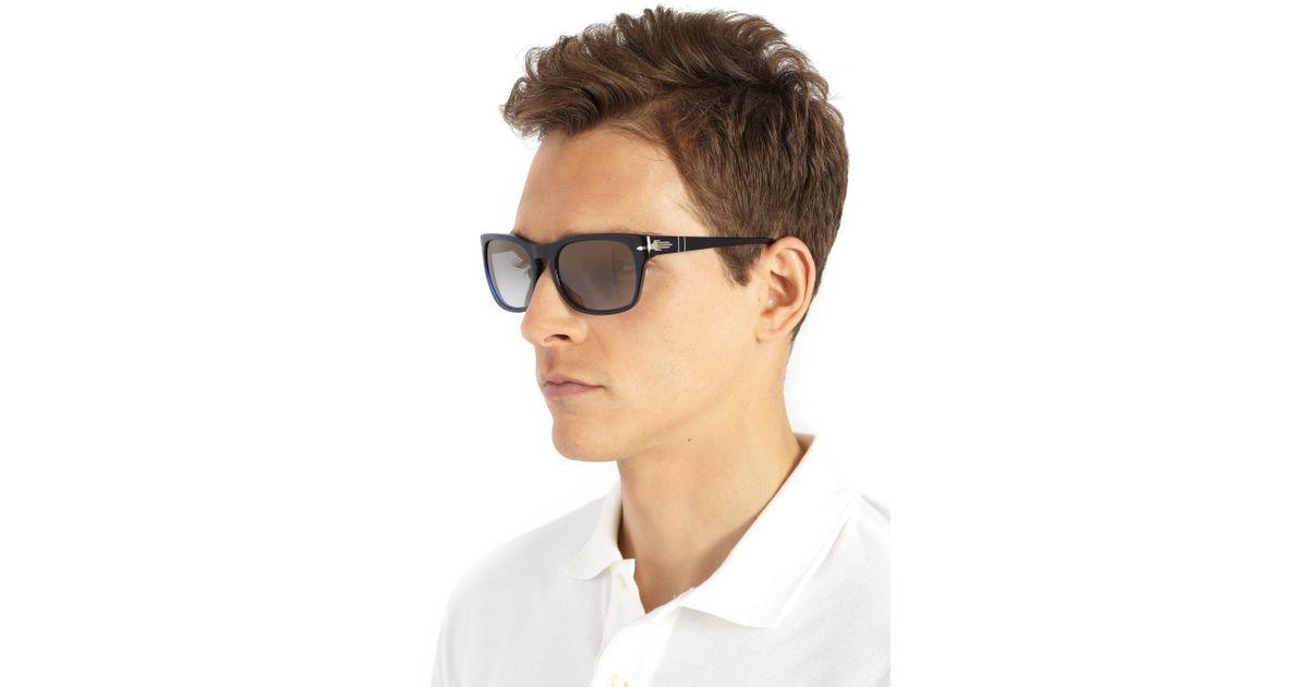 7e35d5c983a4b Persol 54mm Square Acetate Sunglasses in Blue for Men - Lyst