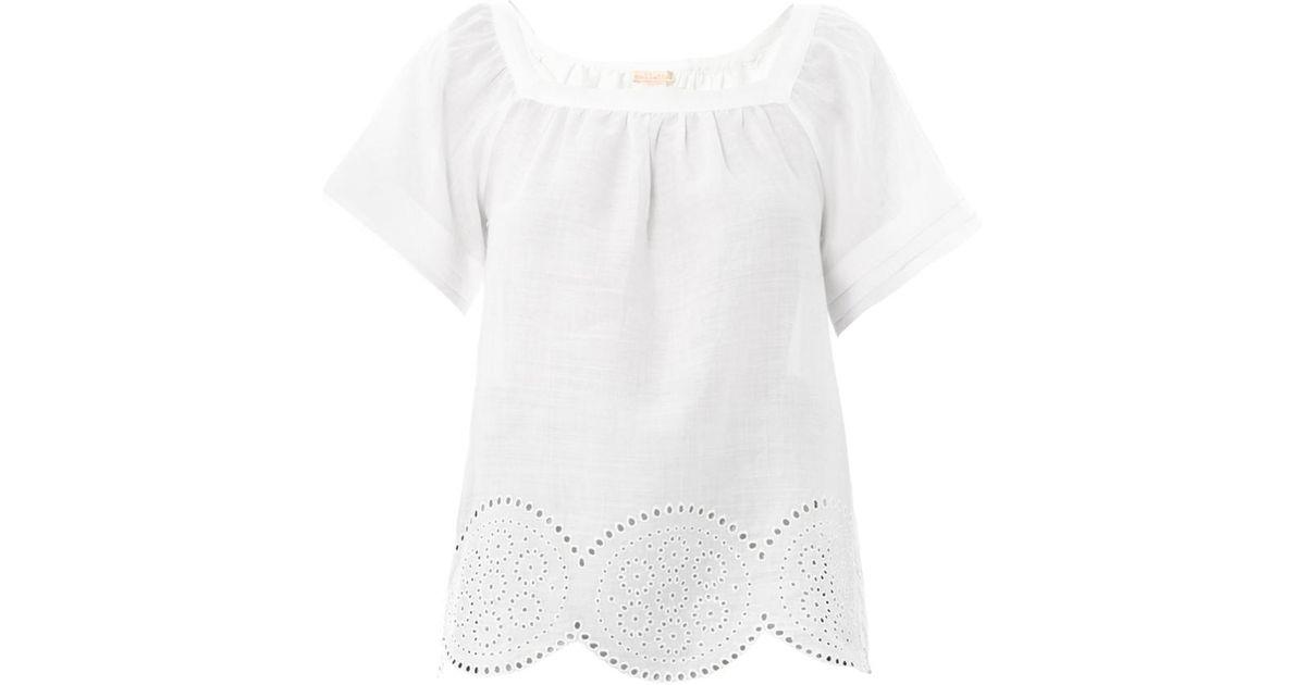 e58955a5a90e Lyst - Collette by Collette Dinnigan Embroidered Square Neck Top in White