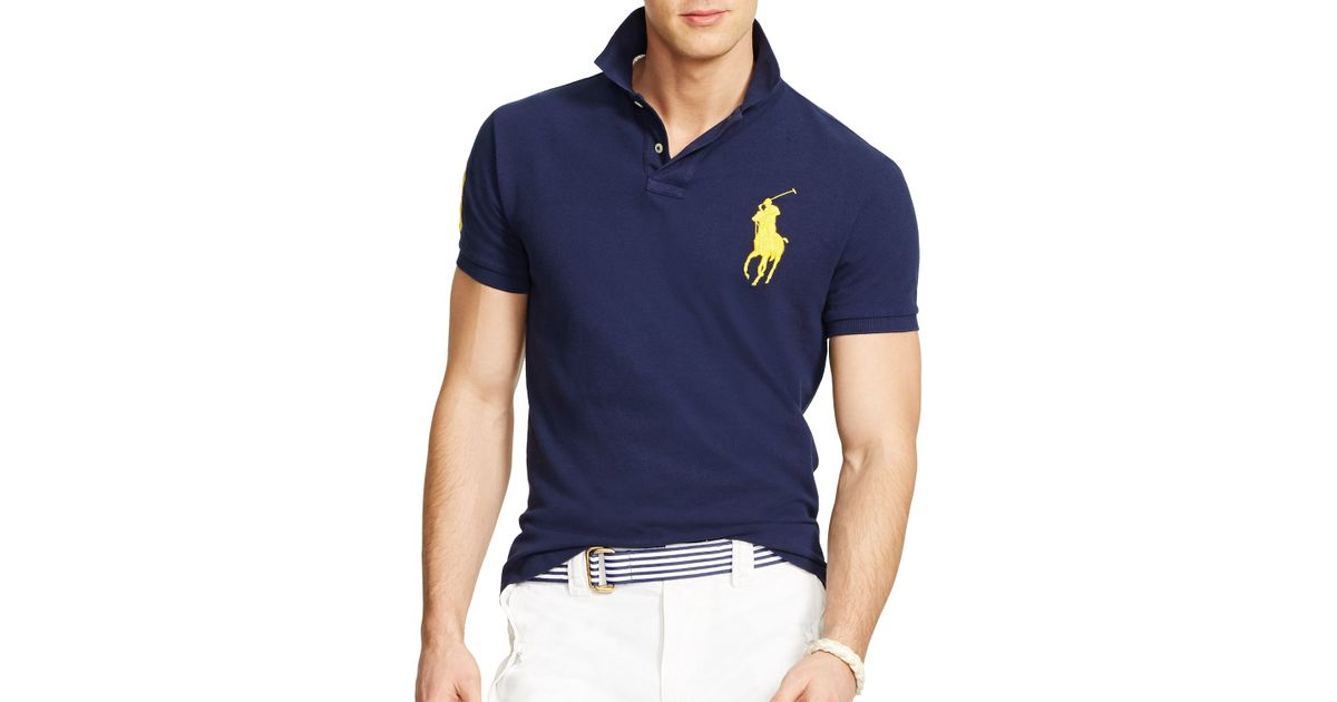 Ralph lauren Polo Custom Fit Big Pony Mesh Polo Shirt - Slim Fit in Blue for Men | Lyst