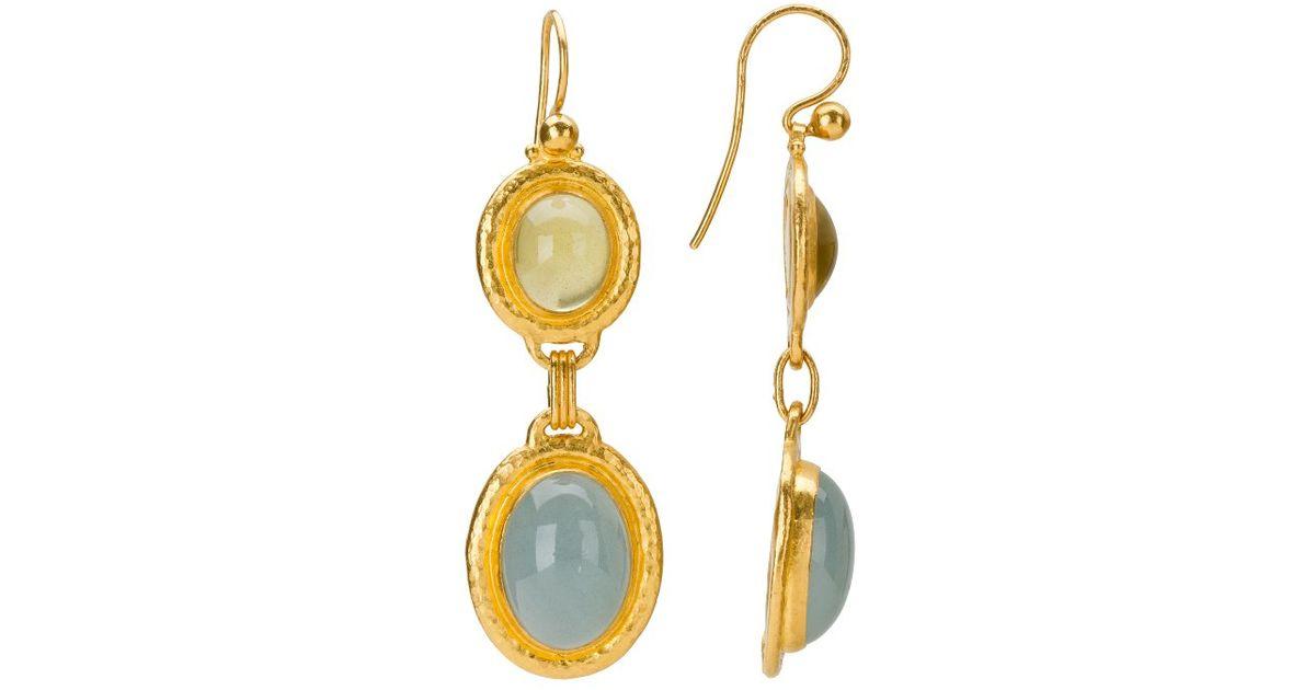 Gurhan 24k Long Flurries Earrings w/ Apatite & Aquamarine EMGpPBt
